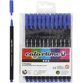 Colortime - Colortime Fineliner Tusch, spets: 0,7 mm, mörkblå, 12st.