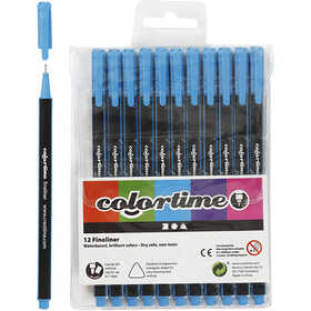 Colortime - Colortime Fineliner Tusch, spets: 0,7 mm, ljusblå, 12st.