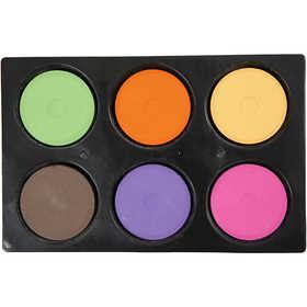 Colortime - Vattenfärger i palett, dia. 44 mm, kompletterande färger, 6 mixade