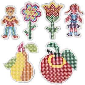Pärl-plattor transparent barn och blommor 6 mixade