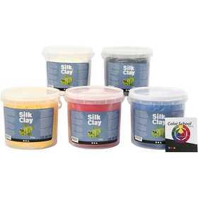 Silk Clay - Primärfärger, Färgskoleguide medföljer, 5x650 g