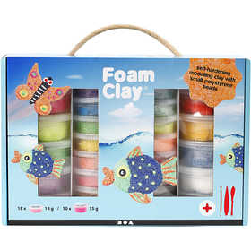 Foam Clay - Presentask, mixade färger, 1set