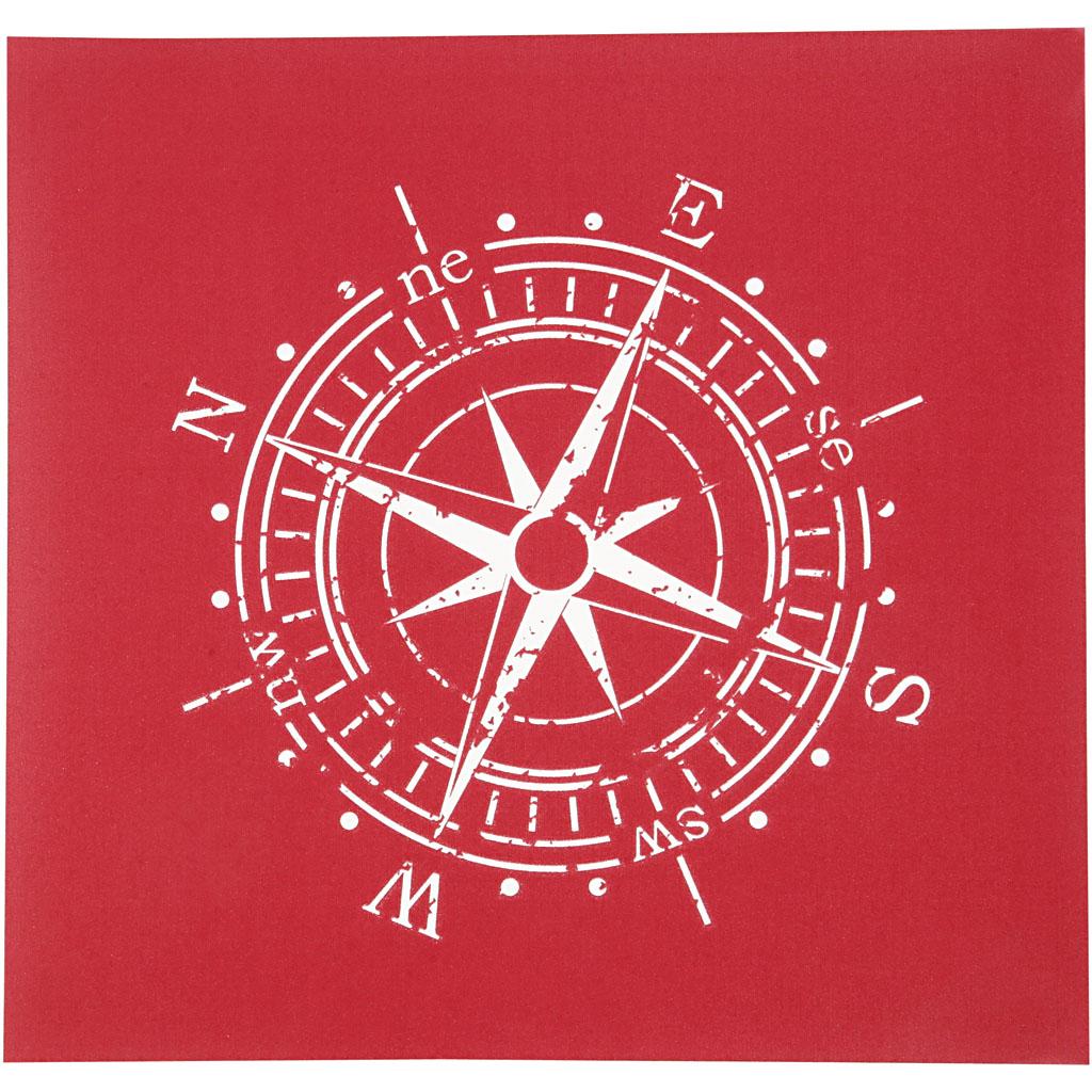 Screen stencil, ark 20x22 cm, kompas, 1a