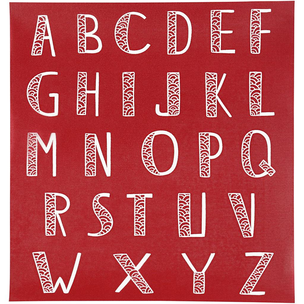 Screen stencil, ark 20x22 cm, alfabet, 1