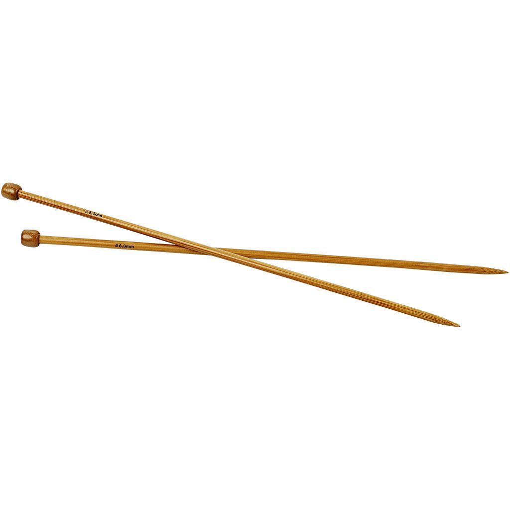 Strikkepinde, nr. 6 , L: 35 cm, 1par