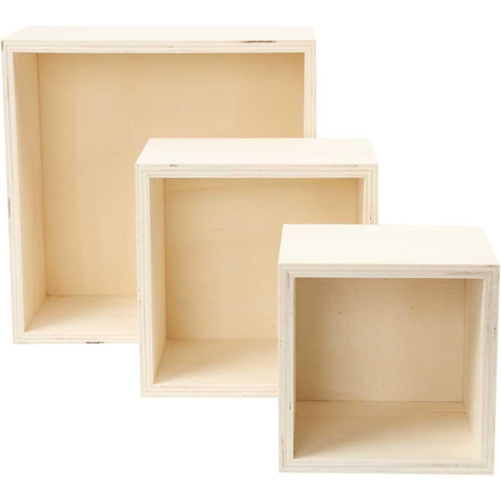 Bogkasser, kvadratisk, H: 11+14+20 cm, d