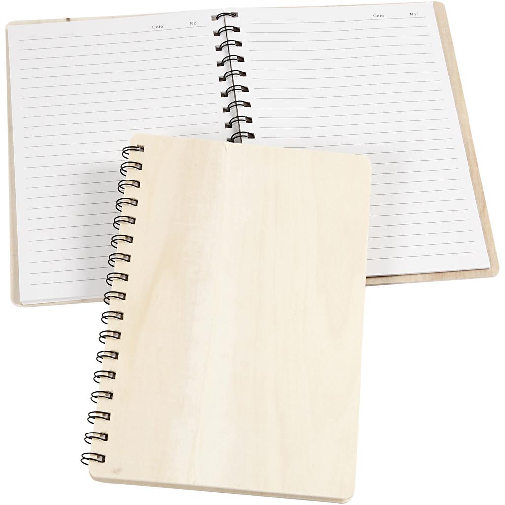 Notesbog, str. 15,5x22,3 cm, krydsfiner,