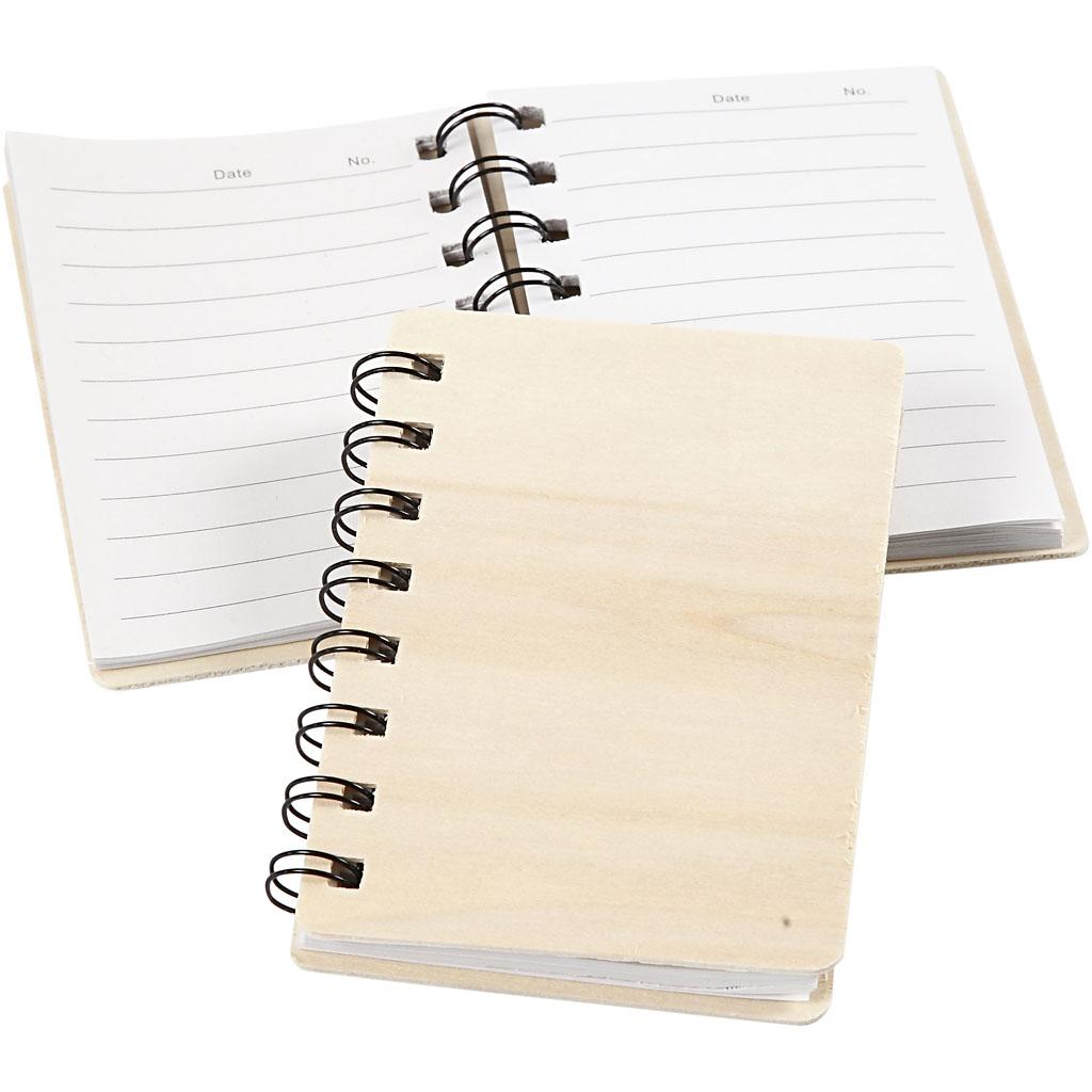 Notesbog, str. 8,5x11 cm, krydsfiner, 1s
